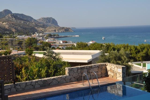 Aussicht auf die Stegna Bay im Hotel Porto Angeli auf Rhodos