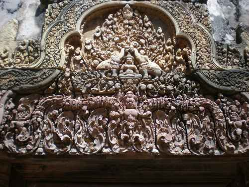 Detailstrukturen im Banteay Srei Tempel