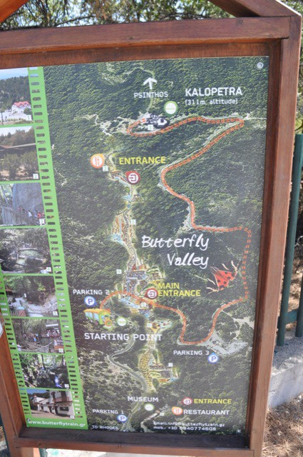 Butterfly Valley auf Rhodos Karte & Übersicht des Schmetterlings-Tal