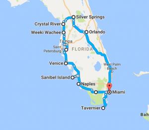 Rundreise Florida - Reiseroute mit Kind  - Quelle: Google Maps