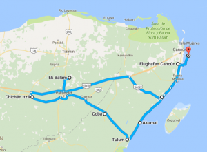 Rundreise Mexiko - Reiseroute durch Yucatan